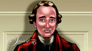 "Patrick Henry as he appears debating the Constitution in Mike Church's ""Spirit of '76"""